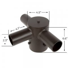 "Tenon Adapter for 4"" Round Poles - (3) Horizontal 90° Tenons"