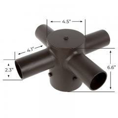 "Tenon Adapter for 4"" Round Poles - (4) Horizontal 90° Tenons"