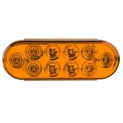 "Oval LED Truck and Trailer Lights - 6"" Brake/Turn/Tail Lights - 3-Pin Connector - Flush Mount - 10 LEDs"