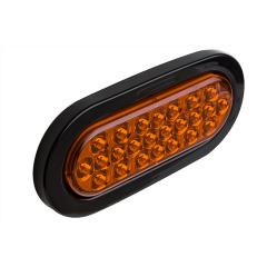 "Oval LED Truck and Trailer Light - 6"" LED Brake/Turn/Tail Lights - 3-Pin Connector - Flush Mount - 24 LEDs"