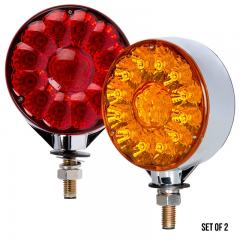 "Round LED Pedestal Truck and Trailer Lights - 4"" Double Face Brake/Turn/Tail Lights - Pedestal Mount - Set of 2"