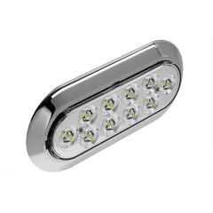 "Oval LED Truck and Trailer Lights w/ Chrome Bezel - 6"" LED Lights - Pigtail Connector - Surface Mount - 10 LEDs"