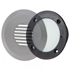 LED Step Lights - Round Deck / Step Accent Light w/ Frosted Lens - 12V or 120V