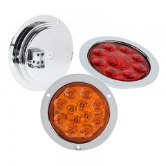 "Round LED Truck and Trailer Lights - 4"" LED Brake/Turn/Tail Lights w/ Built-In Flange - 3-Pin Connector - Flush Mount - 12 LEDs"