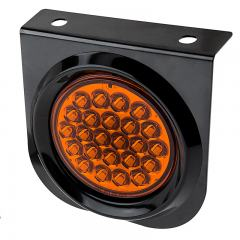 "Round LED Truck and Trailer Lights w/ Built-In Bracket - 4"" LED Signal and Parking Light - 3-Pin Connector - Surface Mount - 24 LEDs"