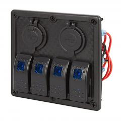 LED Rocker Switch Panel with 12V Accessory Plug Adapter Socket and Dual USB Port - 4 Position Waterproof DC Distribution Panel - 12 VDC - 24 Amps