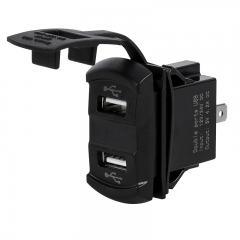 Dual USB Charging Port Adapter for LED Rocker Switch Panels - Built-in Voltmeter/Ammeter - 4.2 Amps - 5V - USB Type A