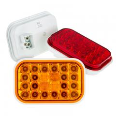 "Rectangle LED Truck and Trailer Lights - 5"" LED Brake/Turn/Tail Lights - 3-Pin Connector - Flush Mount - 24 LEDs"