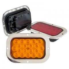 "Rectangle LED Truck and Trailer Lights w/ Built-In Stainless Steel Flange - 6"" LED Brake/Turn/Tail Lights - 3-Pin Connector - Flush Mount - 20 LEDs"