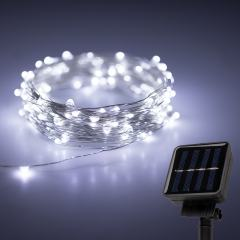 Solar Powered LED Fairy Lights w/ Silver Wire - 32ft
