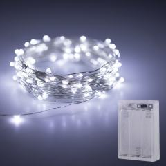 Battery Powered LED Fairy Lights w/ Silver Wire - 32ft