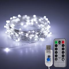 USB LED Fairy Lights w/ Remote Control - Silver Wire - 32ft