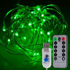 USB LED Fairy Lights w/ Remote Control - Silver Wire - 32ft - Green w/ Silver Wire