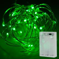 Battery Powered LED Fairy Lights w/ Silver Wire - 13ft - Green w/ Silver Wire