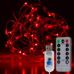 USB LED Fairy Lights w/ Remote Control - Silver Wire - 32ft - Red w/ Silver Wire