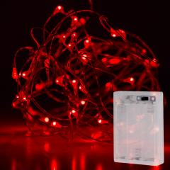 Battery Powered LED Fairy Lights w/ Silver Wire - 13ft - Red w/ Silver Wire