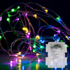 Weatherproof LED Fairy Lights w/ Remote Control - Battery Powered - Silver Wire - 32ft