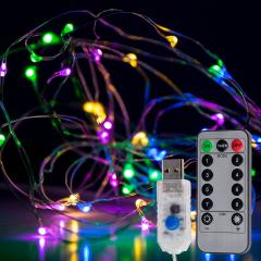 USB LED Fairy Lights w/ Remote Control - Silver Wire - 32ft - Multicolor w/ Silver Wire