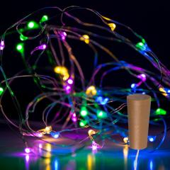 Wine Bottle LED Fairy Lights - Cork Shaped Battery Operated LED Lights w/ Silver Wire - 6.5ft - Multicolor w/ Silver Wire