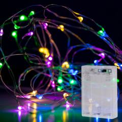 Battery Powered LED Fairy Lights w/ Silver Wire - 13ft - Multicolor w/ Silver Wire