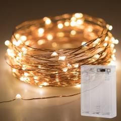 Battery Powered LED Fairy Lights w/ Copper Wire - 32ft - Warm White w/ Copper Wire