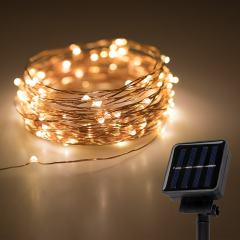 Solar Powered LED Fairy Lights w/ Copper Wire - 32ft