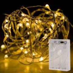 Battery Powered LED Fairy Lights w/ Silver Wire - 13ft - Warm White w/ Silver Wire
