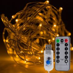 USB LED Fairy Lights w/ Remote Control - Copper Wire - 32ft - Yellow w/ Copper Wire