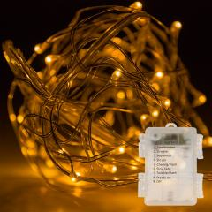 Weatherproof LED Fairy Lights w/ Remote Control - Battery Powered - Copper Wire - 32ft