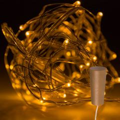 Wine Bottle LED Fairy Lights - Cork Shaped Battery Operated LED Lights w/ Copper Wire - 6.5ft