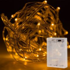 Battery Powered LED Fairy Lights w/ Silver Wire - 13ft
