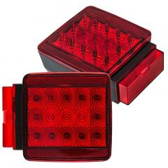 "Square LED Trailer Light Kit - 4-1/2"" LED Brake/Turn/Tail/License Plate Lights - Pigtail Connector - Stud Mount - 17 LEDs"