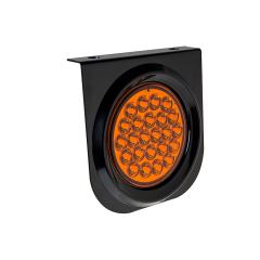 """Round LED Truck and Trailer Lights w/ Built-In Bracket - 4"""" LED Signal and Parking Light - 3-Pin Connector - Surface Mount - 24 LEDs"""
