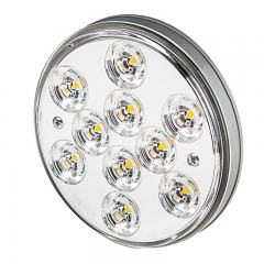 "Round LED Truck Trailer Lights - 4"" LED Brake/Turn/Tail Lights - 3-Pin Connector - Flush Mount - 10 LEDs"