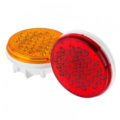 "Round LED Truck and Trailer Lights w/ Reflector - 4"" LED Brake/Turn/Tail Lights - 3-Pin Connector - Flush Mount - 40 LEDs"