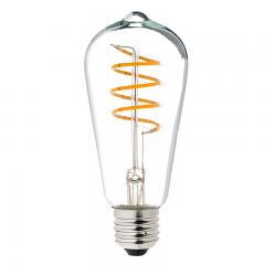 Spiral Filament LED Bulb - ST18 Carbon Filament Style Bulb - Dimmable 15 Watt Equivalent - Spiral Loop - 146 Lumens