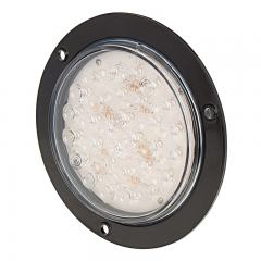 "Round LED Truck Trailer Backup Light w/ Built-In Flange - 5-1/2"" LED Reverse Light - 3-Pin Connector - Flush Mount - 30 LEDs"