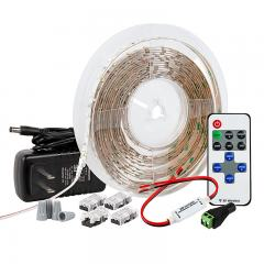 White LED Strip Lighting Kit - 5m Under Cabinet LED Tape Light - Wireless RF Controller - 150 lm/ft