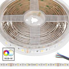 5050 RGB+W LED Strip Light - Color-Changing LED Tape Light w/ White and Multicolor LEDs - 24V - IP20 - 204 lm/ft