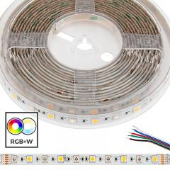 5m 5050 RGB+W LED Strip Light - Color Changing + White LED Tape Light - 24V - IP54 Weatherproof
