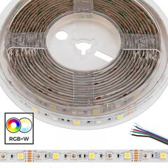5m 5050 RGB+W LED Strip Light - Color Changing + White LED Tape Light - High Density - 12V - IP54 Weatherproof