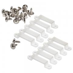 16mm Silicone Mounting Clip and Screws for STW Series Waterproof Strip Lights - 10 Pack