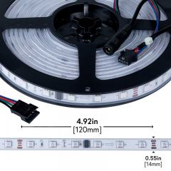 Outdoor RGB LED Strip Lights - Color Chasing 12V LED Tape Light - IP67 Waterproof - 37 Lumens/ft.
