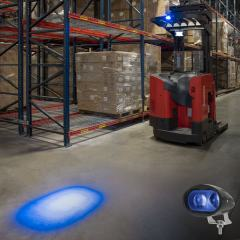 Blue LED Forklift Light - LED Safety Spotlight with 4° Square Beam Pattern - Blue - Single