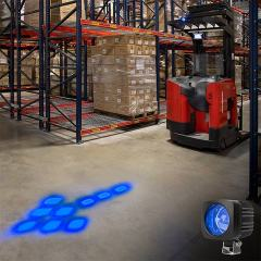 Blue LED Forklift Safety/Warning Light with Sequential Flashing Arrow Beam Pattern