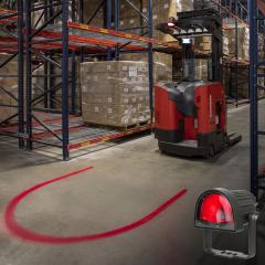 Red LED Forklift Safety/Warning Light w/ Arc Beam Pattern