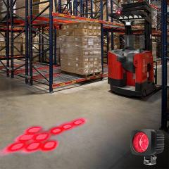 Red LED Forklift Safety/Warning Light with Sequential Flashing Arrow Beam Pattern