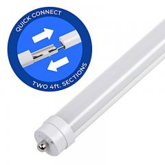 8ft T8/T12 LED Tube - 2 4-foot Sections - 36W - 5040 Lumens - Dual End Electric Ballast Compatible Type A - 75W Equivalent - 5000K