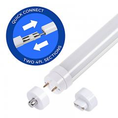 8ft T8/T12 LED Tube - 2 4-foot Sections - 36W - 4860 Lumens - Dual End Ballast Bypass Type B - 75W Equivalent - 5000K