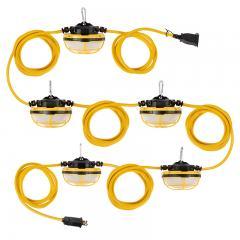 65W LED Temporary Jobsite String Lights - 50' Run - Linkable - 7,150 Lumens Total